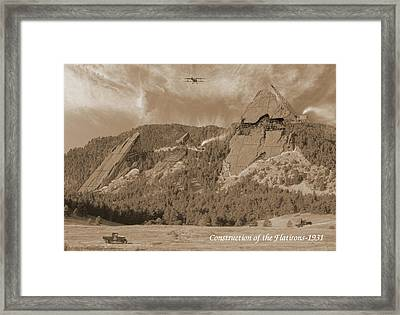Construction Of The Flatirons - 1931 - Sepia Framed Print by Jerry McElroy