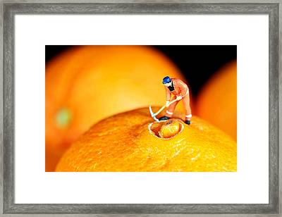 Construction On Oranges Framed Print by Paul Ge