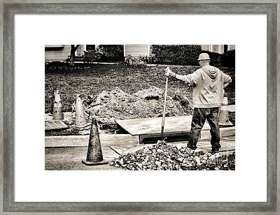 Construction Worker Framed Print by Olivier Le Queinec