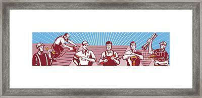 Construction Workers Tradesman Retro Framed Print by Aloysius Patrimonio