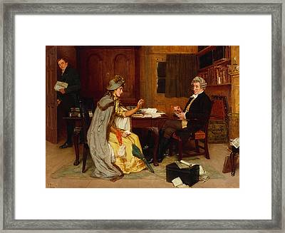 Consulting Her Lawyer Framed Print by Frank  Dadd