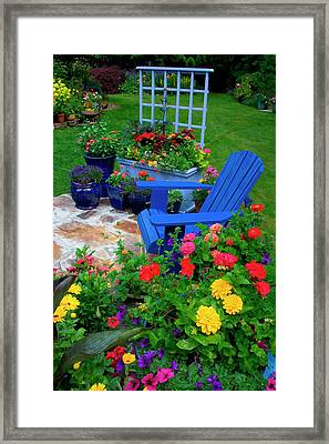 Container Garden Design With Blue Chair Framed Print by Darrell Gulin
