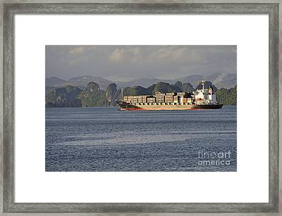Container Ship In Halong Bay Framed Print by Sami Sarkis