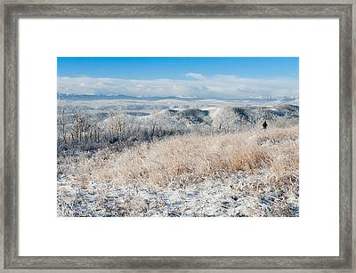 Contemplating Frosty Foothills  Framed Print by Heather Simonds