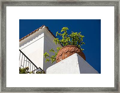 Contemplating Mediterranean Vacations - Red Tile Roofs And Terracotta Flowerpots Framed Print by Georgia Mizuleva