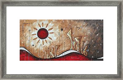 Contemporary Abstract Art Cityscape Original City Painting Where Our Paths Lead By Madart Framed Print by Megan Duncanson