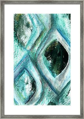 Contemporary Abstract- Teal Drops Framed Print by Linda Woods