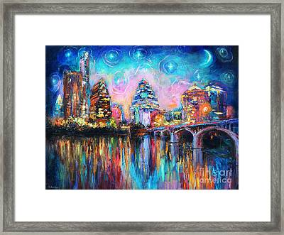 Contemporary Downtown Austin Art Painting Night Skyline Cityscape Painting Texas Framed Print by Svetlana Novikova
