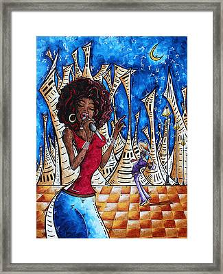 Contemporary New Orleans Jazz Blues Original Painting Singin In The Streets Framed Print by Megan Duncanson