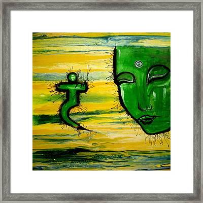 Contemporary Original Yellow 3rd Chakra Manipura Framed Print by Chakra Art