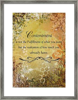 Contentment Inspirational Christian Art Print Framed Print by Janelle Nichol