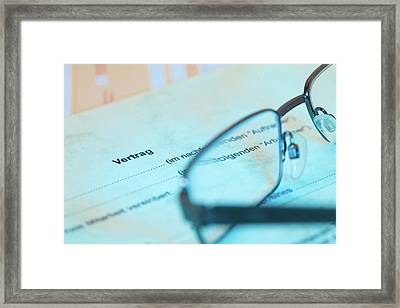 Contract And Spectacles Framed Print by Wladimir Bulgar