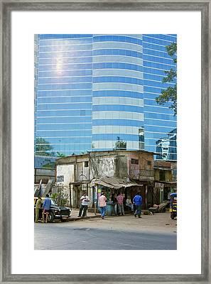 Contrasting Buildings In Mumbai Framed Print by Mark Williamson