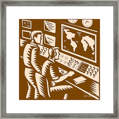 Control Room Command Center Headquarter Woodcut Framed Print by Aloysius Patrimonio