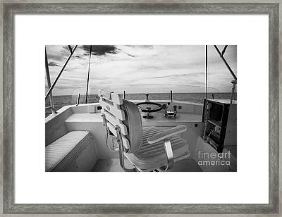 Controls On The Flybridge Deck Of A Charter Fishing Boat In The Gulf Of Mexico Out Of Key West Framed Print by Joe Fox