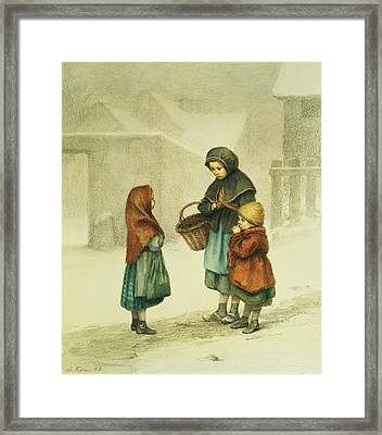 Conversation In The Snow Framed Print by Pierre Edouard Frere
