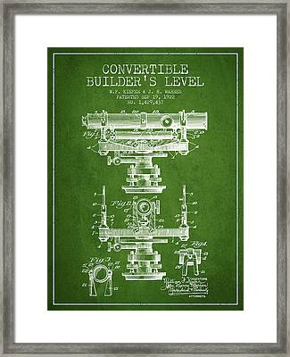Convertible Builders Level Patent From 1922 -  Green Framed Print by Aged Pixel