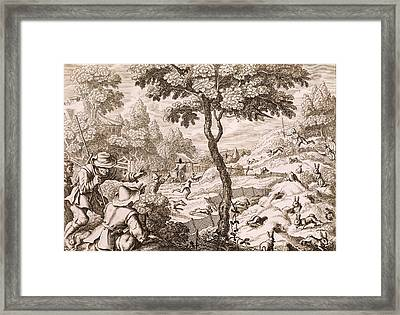 Cony Catching, Engraved By Wenceslaus Framed Print by Francis Barlow