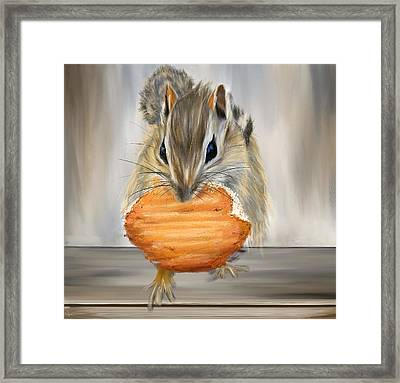 Cookie Time- Squirrel Eating A Cookie Framed Print by Lourry Legarde