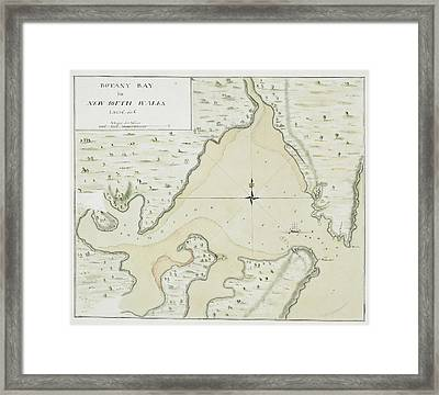Cook's Map Of Botany Bay Framed Print by British Library
