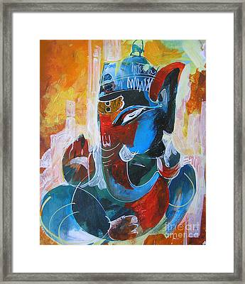 Cool And Graphical Lord Ganesha Framed Print by Chintaman Rudra