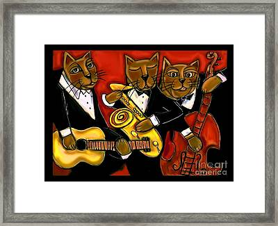 Cool Jazz Cats Framed Print by Cynthia Snyder