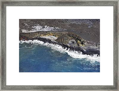 Cooled Lava Fields By Pacific Ocean Framed Print by Sami Sarkis