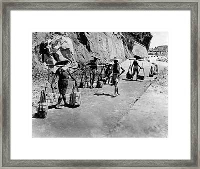 Coolies Carrying Bricks Framed Print by Underwood Archives