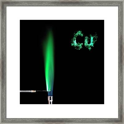 Copper Flame Test Framed Print by Science Photo Library