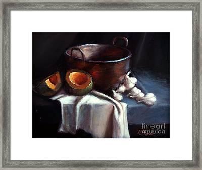 Copper Pot And Cantalpes Framed Print by Viktoria K Majestic