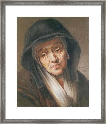 Copy Of A Portrait By Rembrandt Of His Mother, 1776 Pastel On Paper Framed Print by Jean-Baptiste Simeon Chardin