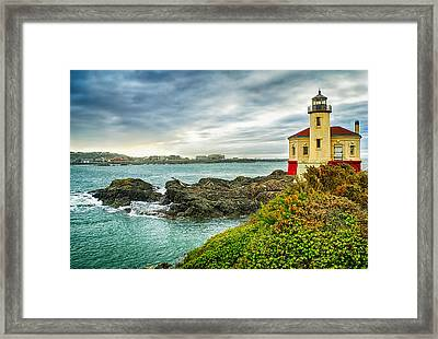 Coquille River Lighthouse Framed Print by Priscilla Burgers