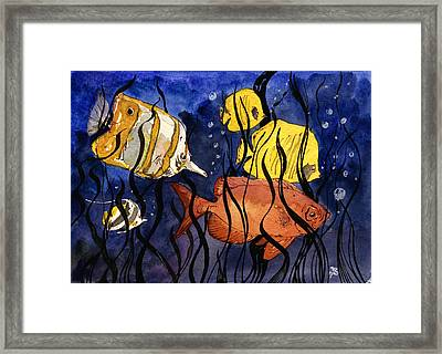 Coral Fishes Seaweed Framed Print by Juan  Bosco