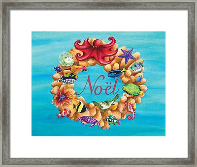 Coral Wreath Noel Framed Print by Carolyn Steele