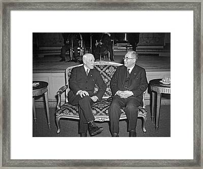 Cordell Hull With Adm. Nomura Framed Print by Underwood Archives