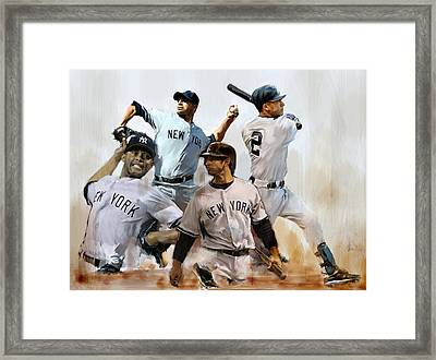 Core  Derek Jeter Mariano Rivera  Andy Pettitte Jorge Posada Framed Print by Iconic Images Art Gallery David Pucciarelli