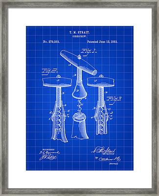 Corkscrew Patent 1883 - Blue Framed Print by Stephen Younts