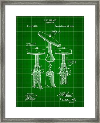 Corkscrew Patent 1883 - Green Framed Print by Stephen Younts