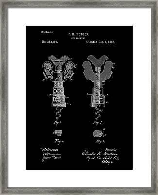 Corkscrew Patent 1886 - Black Framed Print by Stephen Younts