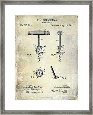 Corkscrew Patent 1897 Framed Print by Jon Neidert