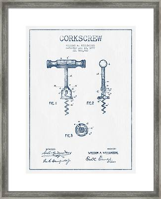 Corkscrew Patent Drawing From 1897 - Blue Ink Framed Print by Aged Pixel