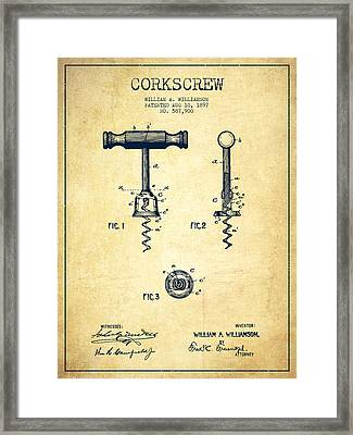 Corkscrew Patent Drawing From 1897 - Vintage Framed Print by Aged Pixel