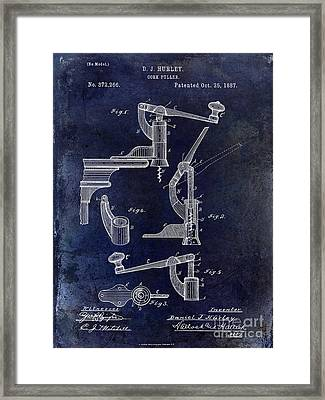 1887 Corkscrew Patent Drawing Framed Print by Jon Neidert