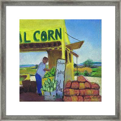 Corn And Oysters Farmstand Framed Print by Susan Herbst