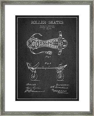 Cornelius Roller Skate Patent Drawing From 1881 - Dark Framed Print by Aged Pixel