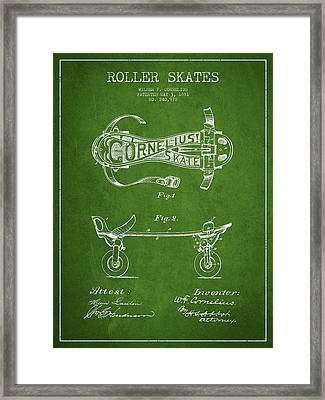 Cornelius Roller Skate Patent Drawing From 1881 - Green Framed Print by Aged Pixel