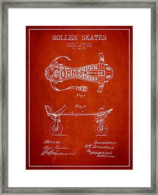 Cornelius Roller Skate Patent Drawing From 1881 - Red Framed Print by Aged Pixel