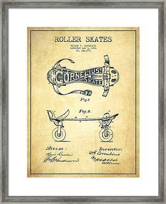 Cornelius Roller Skate Patent Drawing From 1881 - Vintage Framed Print by Aged Pixel