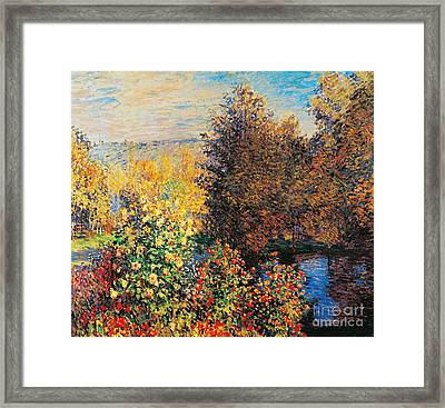 Corner Of Garden In Montgeron Framed Print by Claude Monet