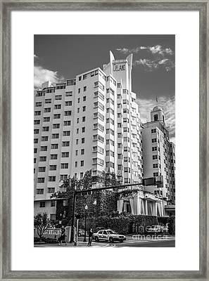 Corner View Of Delano Hotel And National Hotel - South Beach - Miami - Florida - Black And White Framed Print by Ian Monk